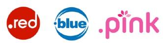 acheter nom de domaine avec extension en couleur red, blue, pink