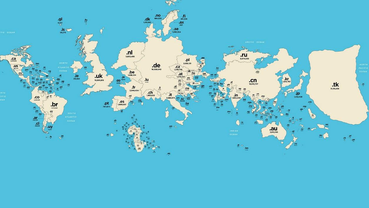 Carte du monde des noms de domaine cctlds par Nominet