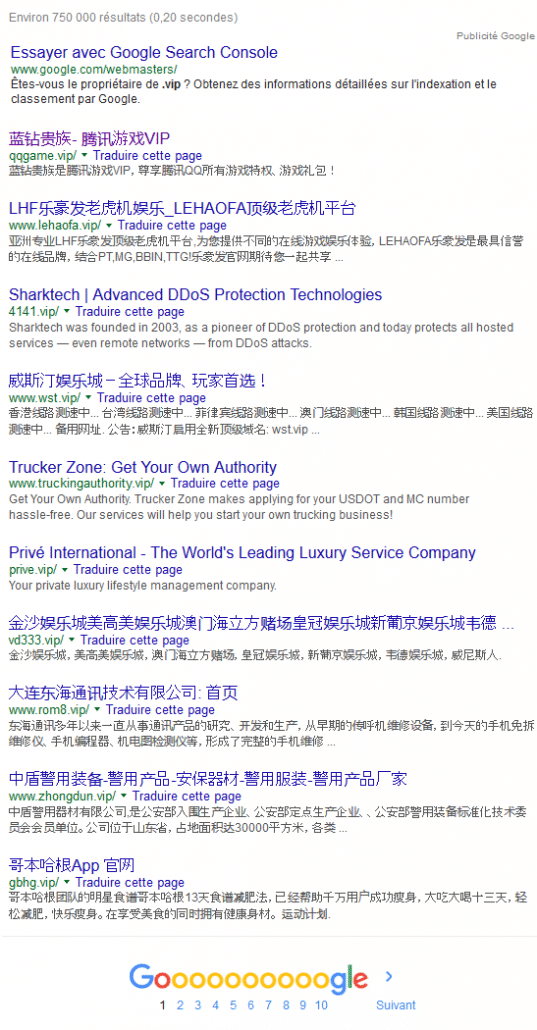 les chinois friant des noms de domaine .VIP