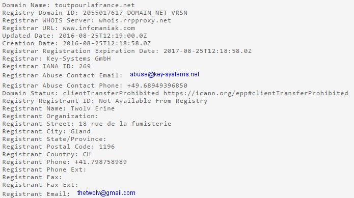 cybersquatting toutpourlafrance.net