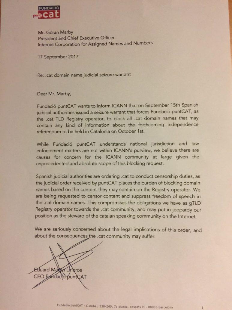 fundacio puntcat écrit à l'ICANN pour dénoncer les agissements de la Guarda Civil